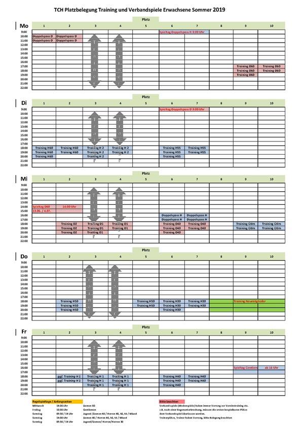 Tabelle TCH Trainingsplan Erwachsene 2019