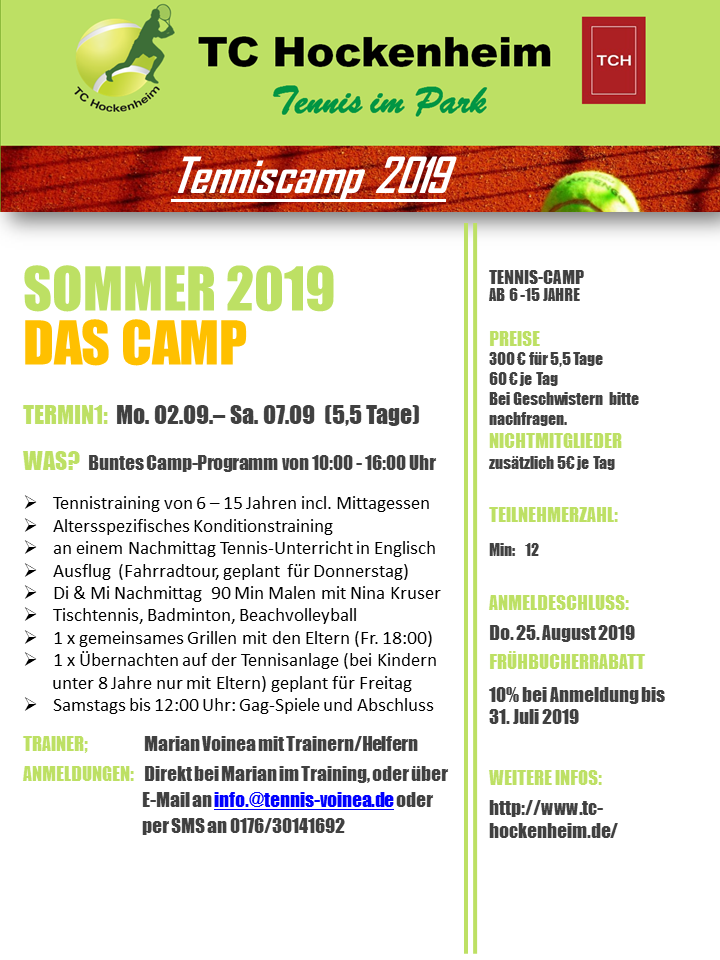 TCH Tennis-Sommer-Camp 2019